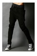 ซื้อ Men S Fashion Casual Harem Pants Solid Color Pants Wei Pants Black ใหม่