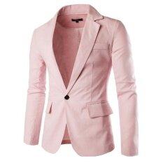 ราคา บุรุษแฟชั่น Casual หนึ่งปุ่มพ็อกเก็ตสีทึบ Slim Fit ฤดูใบไม้ผลิฤดูใบไม้ร่วงเสื้อสีชมพู ใหม่