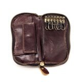 ราคา ราคาถูกที่สุด Mens Genuine Leather Key Wallets With Coin Pocket Smart Key Holder Vintage Brown Housekeeper Zipper Purse For Keys