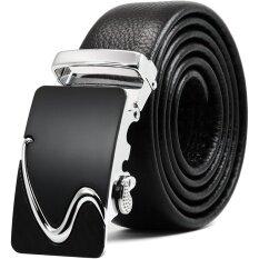 ส่วนลด Men S Genuine Leather Ratchet Belt With Automatic Sliding Buckle Size 45 Inch Intl
