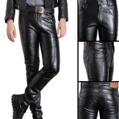 ขาย Men S Korea Style Slim Pu Leather Casual Pants Black Intl Unbranded Generic เป็นต้นฉบับ