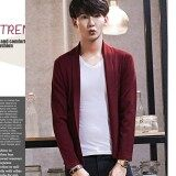 ขาย Men S Lapel Open Front Cardigan Burgundy ถูก