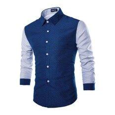 Mens Long Sleeve Shirt Casual Slim Fit Stylish Dress Shirts Tops(navy)2xl - Intl