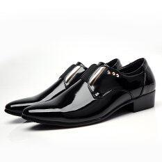 ขาย Mens Oxfords New Casual Black Patent Leather Formal Rivet Slip On Shoes Plus Size Eu38 46 Intl Unbranded Generic ถูก
