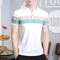ขาย Men S Short Sleeve T Shirt Summer Collar Collar Cotton Collar Polo Shirt Korean Trend Men S Youth Led The Clothes Blue Intl ใหม่