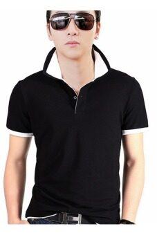 \ผู้ชายบางพอดีเสื้อโปโล (สีดำ \\ สีขาว)\'