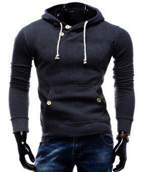 เสื้อกันหนาวผู้ชายแขนยาวผ้าโพกศีรษะสันทนาการกีฬาเสื้อ Hoodie (เข้มสีเทา) (สนามบินนานาชาติ)