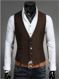 ขาย ซื้อ Mens Slim Suit Vest Vest Men Color Male Casual Jacket Vest Jacket Intl จีน