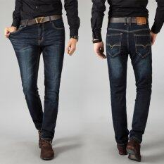 ขาย ซื้อ ออนไลน์ Men S Spring Autumn Casual Stretch Comfortable Demin Pants Jeans Black Intl