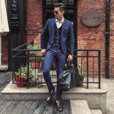 ซื้อ บุรุษสามชิ้นลายสก๊อตสีฟ้าแฟชั่น Slim Fit Blazer เจ้าบ่าวเจ้าบ่าวชุด ออนไลน์