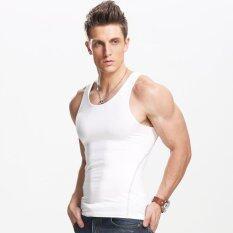 ราคา เสื้อกั๊กสำหรับผู้ชาย Slimming ร่างกายเครื่องไส เสื้อกล้ามชุดกีฬาถังด้านบนสีขาว นานาชาติ ออนไลน์ จีน