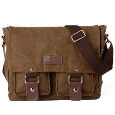 ซื้อ กระเป๋านักเรียนชายผ้าใบ Vintage ทหารแล็ปท็อปกระเป๋าสะพายสีน้ำตาล สนามบินนานาชาติ Unbranded Generic ถูก