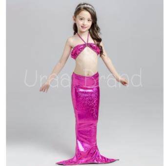 Mermaid Swimming Kids ชุดว่ายน้ำ ชุดนางเงือก ชุดเด็ก Bikini เซ็ท 3 ชิ้น รุ่น กระโปรงเงา แบบโผล่ขา Pink (สีชมพู)
