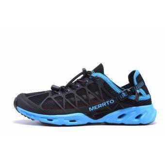 Merrto Beach Shoes รุ่น 7225 รองเท้าใส่เล่นน้ำ ทรงตาข่าย จะใส่เดินเที่ยว เล่นน้ำตก หรือลงทะเล สบายเท้าแห้งเร็ว (สีดำ/ฟ้า)