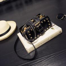ราคา กระเป๋าสะพายปักหมุดแบบสาวเกาหลี สีดำ สีดำ