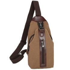 ขาย ซื้อ ออนไลน์ ย้อนยุคผ้าใบชายกระเป๋าสะพายกระเป๋า Messenger หน้าอกถุง สีกากี