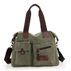 ราคา กระเป๋าสะพายข้างใช้ได้ทั้งสตรีและชายสไตล์เกาหลีแบบลำลองผ้าฝ้ายบริสุทธิ์ กองทัพสีเขียว ราคาถูกที่สุด