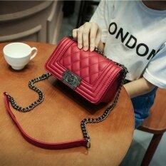 ขาย สี่เหลี่ยมเล็กๆในยุโรปและอเมริกาถุงนางสาวถุงเล็กกระเป๋า Messenger ไวน์แดง เป็นต้นฉบับ