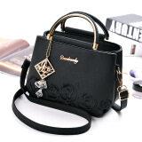 โปรโมชั่น กระเป๋าถือหญิง สะพายไหล่ได้ ปักลาย แฟชั่น สีดำ สีดำ