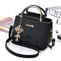 ราคา กระเป๋าถือหญิง สะพายไหล่ได้ ปักลาย แฟชั่น สีดำ สีดำ Other ใหม่