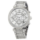 ซื้อ Michael Kors Parker Mother Of Pearl Dial Crystals Steel Ladies Watch Stainless Strap Mk5572 Silver ใหม่