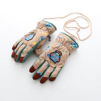 ถุงมือ5นิ้วหนา สำหรับเด็กชาย ลายหุ่นยนต์การ์ตูน กันน้ำ ยี่ห้อMijiaxiong (ดาวหุ่นยนต์/สีกากี) (ดาวหุ่นยนต์/สีกากี)