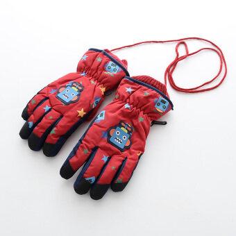 ถุงมือ5นิ้วหนา สำหรับเด็กชาย ลายหุ่นยนต์การ์ตูน กันน้ำ ยี่ห้อMijiaxiong (ดาวหุ่นยนต์/สีแดง) (ดาวหุ่นยนต์/สีแดง)