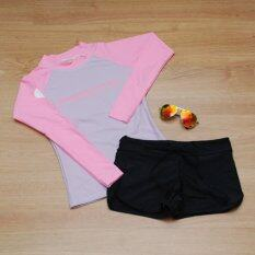 ซื้อ Minerva Rash Guard ชุดว่ายน้ำ แขนยาว สีม่วงแขนสีชมพู และ กางเกงขาสั้น สีดำ