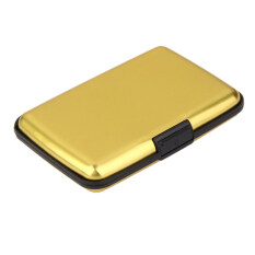 Mini Waterproof Aluminum Metal Case Business Id Credit Card Holder Gold จีน