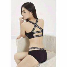 ซื้อ Miracle Bra เสื้อชั้นในสตรี ชุดชั้นในสตรี เซตบรา สาย Peace Love Flirt สายหลัง 2เส้น กางเกงใน สีดำ 1ชุด Miracle Bra