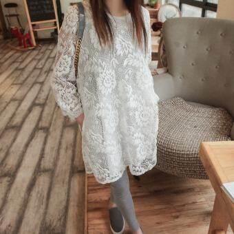 ไซส์พิเศษไซส์ใหญ่พิเศษเสื้อผ้าหญิง 2017 เสื้อผ้าแฟชั่น สำหรับฤดูใบไม้ร่วงสาวอวบกระโปรงลูกไม้แลดูผอมแขนเสื้อยาวอำพรางพุง 200 ปอนด์ของไขมันมม. ชุดเดรสกระโปรง-