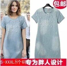 ขาย Mm เสื้อผ้าแฟชั่น กระโปรงยีนส์กระโปรงเกาหลีผ้ายีนส์ผอมบาง ภาพสีประดับด้วยลูกปัดผ้ายีนส์ ฮ่องกง