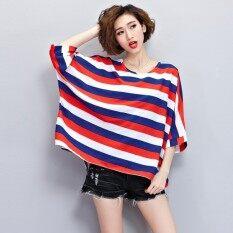 ซื้อ Mm พิเศษไซส์พิเศษไซส์ใหญ่พิเศษเป็นเสื้อชีฟองบาง แถบสีแดงและสีขาว ออนไลน์ ฮ่องกง