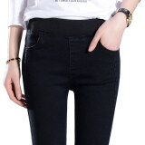 ซื้อ Mm เกาหลีกางเกงยีนส์เอวยางยืดฤดูใบไม้ผลิและฤดูใบไม้ร่วงดินสอกางเกง 6060 สีดำกางเกงขายาว ถูก