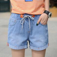 ทบทวน Mm เกาหลีเอวสูงยืดหยุ่นยีนส์กางเกงขาสั้น สีฟ้าอ่อน