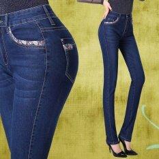 ขาย Mm บางบางเพื่อเพิ่มรหัสแม่กางเกงวัยกลางกางเกงยีนส์ สีน้ำเงินเข้ม Unbranded Generic