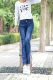 ขาย ซื้อ กางเกงยีนส์ผู้หญิง ยาว 9 ส่วน เอวสูง ขนาดใหญ่ สีฟ้า สีฟ้า