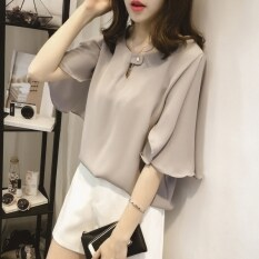 ขาย เสื้อยืดหญิง คอกลม ผ้าชีฟอง ฟรีไซส์ สีขาว เทา ชมพู สีขาว สีขาว