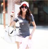 ราคา Mm เกาหลีผ้าฝ้ายสีขาวแขนสั้นผู้หญิงเสื้อยืด Bottoming เสื้อ สีเทาเข้ม สีเทาเข้ม เป็นต้นฉบับ