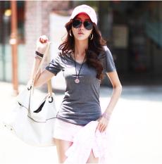 ขาย Mm เกาหลีผ้าฝ้ายสีขาวแขนสั้นผู้หญิงเสื้อยืด Bottoming เสื้อ สีเทาเข้ม สีเทาเข้ม ออนไลน์