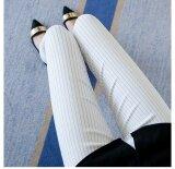 ขาย Mm ฟุตกางเกงซื้อ Bottoming กางเกงไซส์พิเศษไซส์ใหญ่พิเศษกางเกงยืดเอวสูง สีขาวลาย ออนไลน์