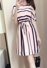 Mm Fashion The New Korean Loose Was Thin Wild Striped Dress A-Type Dress.