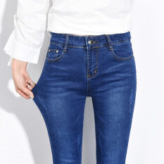 ขาย Mm เสื้อผ้าแฟชั่น กางเกงขายาวที่เรียบง่ายกางเกงยีนส์หญิงแน่นฤดูใบไม้ผลิและฤดูใบไม้ร่วง สีน้ำเงินเข้ม ใน ฮ่องกง