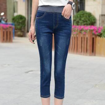 กางเกงยีนส์ผู้หญิง ขา7ส่วน เอวสูงยางยึด