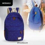 ซื้อ Modaku กระเป๋าแฟชั่น กระเป๋าเป้สะพายหลัง รุ่นลายจุด Polka Dot Shoulder Bag Backpack Sch**L Rucksak Navy สีน้ำเงิน Modaku ออนไลน์