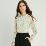 ซื้อ Modengmeimei ป่าหญิงแขนยาวใหม่เสื้อชีฟองเสื้อ สีเบจ ออนไลน์ ถูก