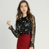 ราคา Modengmeimei ป่าหญิงแขนยาวใหม่เสื้อชีฟองเสื้อ สีดำ ฮ่องกง