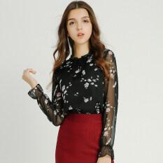 ราคา Modengmeimei ป่าหญิงแขนยาวใหม่เสื้อชีฟองเสื้อ สีดำ Unbranded Generic ใหม่
