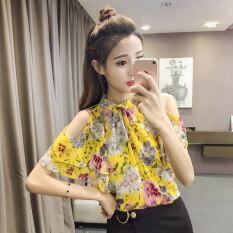 ราคา Modengmeimei เสื้อชีฟองเกาะอกแขนสั้นทรัมเป็ตแขนเสื้อฤดูร้อนหญิง สีเหลือง