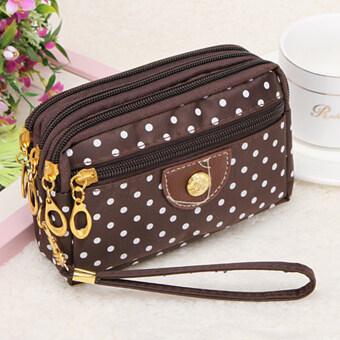 Moonar Fashion 4 Zippers Women Wallet Polka Dot Coin Purse Money Keys Clutch Cards Holder Handbag (Brown) (Intl)